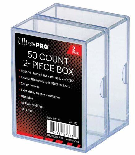 50 Count Clear Card Storage Box - 2 Pack