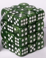 Tärning 12 mm Cube Marble 36 st Jade Green