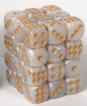 Tärning 12 mm Cube Marble 36 st White/Gold