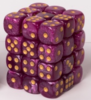 Tärning 12 mm Cube Marble 36 st Purple/Gold