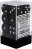 Chessex Opaque 16 mm d6 12 dice - Black/white