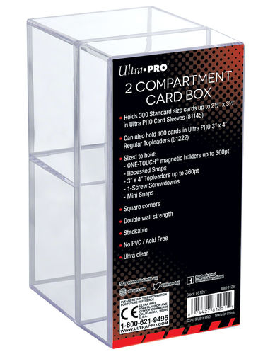 Card Box 2-Compartment Clear